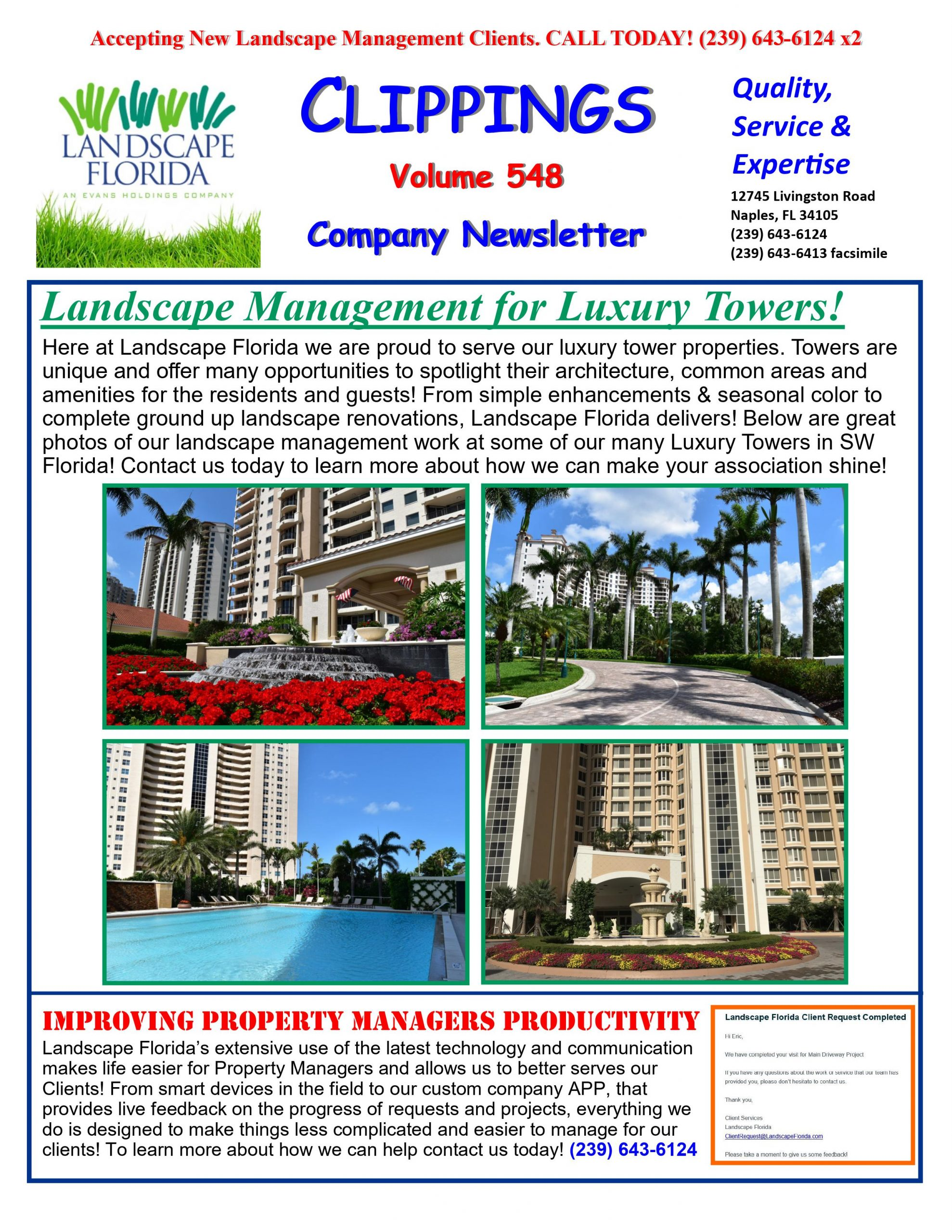 Landscape Florida Publication Clippings Volume 548 Company Newsletter | Southwest Florida Landscape Design and Maintenance