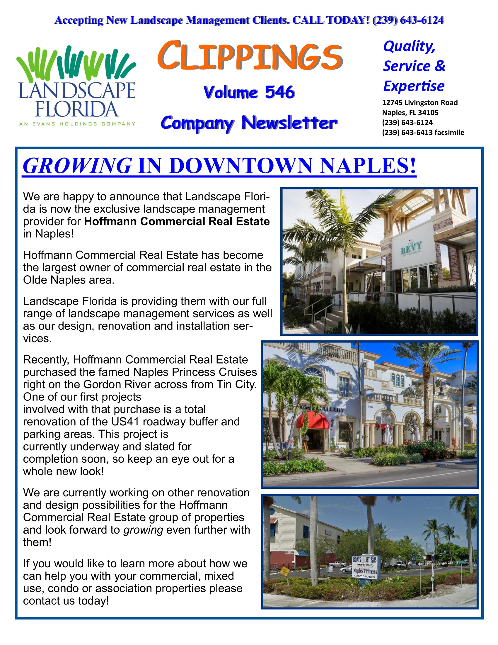 Landscape Florida Publication Clippings Volume 546 Company Newsletter | Southwest Florida Landscape Design and Maintenance