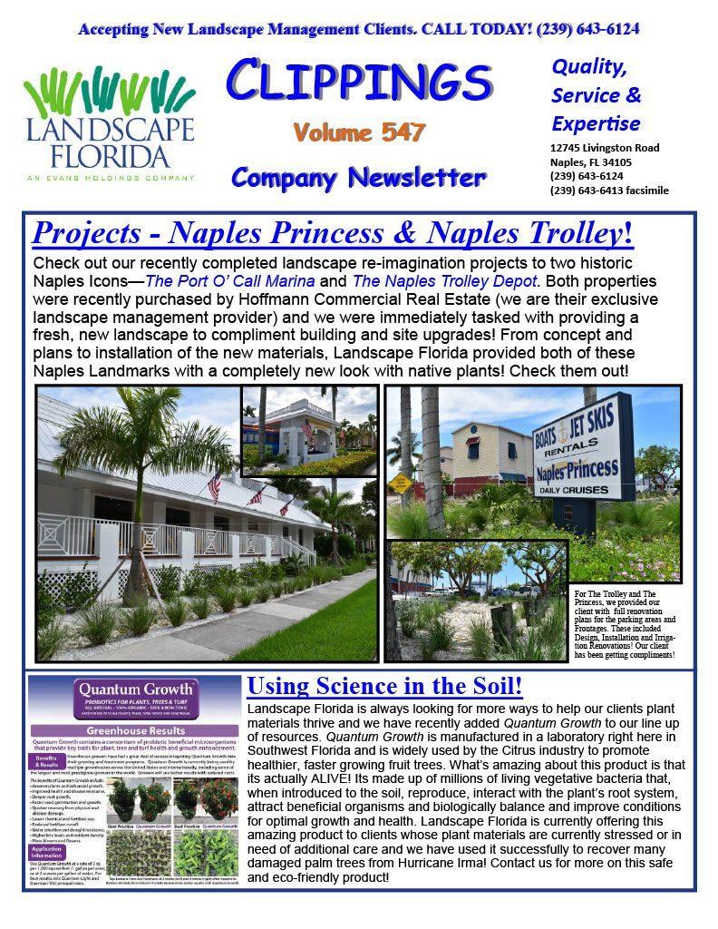 Landscape Florida Publication Clippings Volume 547 Company Newsletter | Southwest Florida Landscape Design and Maintenance