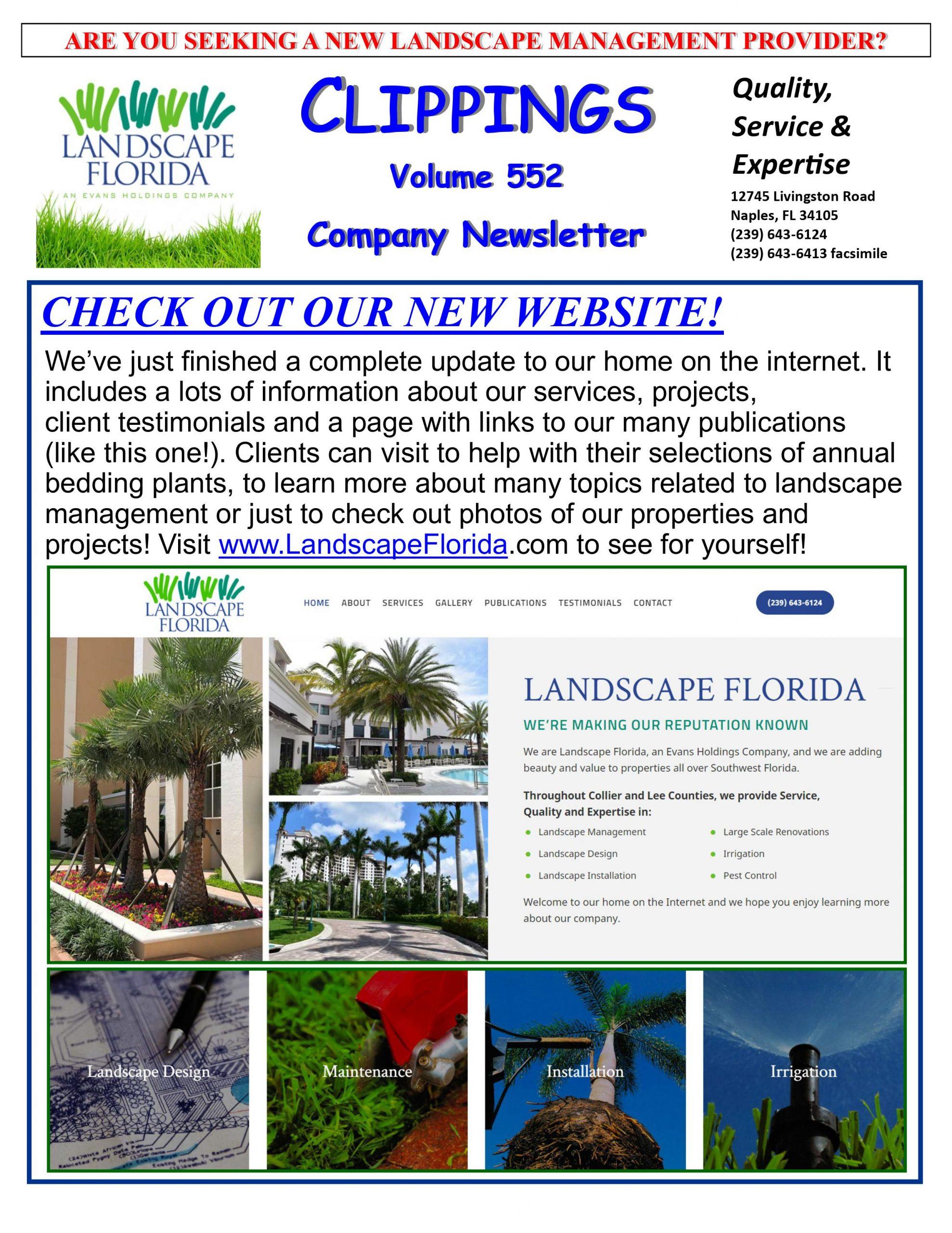 Landscape Florida Publication Clippings Volume 552 Company Newsletter | Southwest Florida Landscape Design and Maintenance