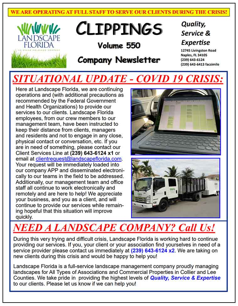 Landscape Florida Publication Clippings Volume 550 Company Newsletter | Southwest Florida Landscape Design and Maintenance