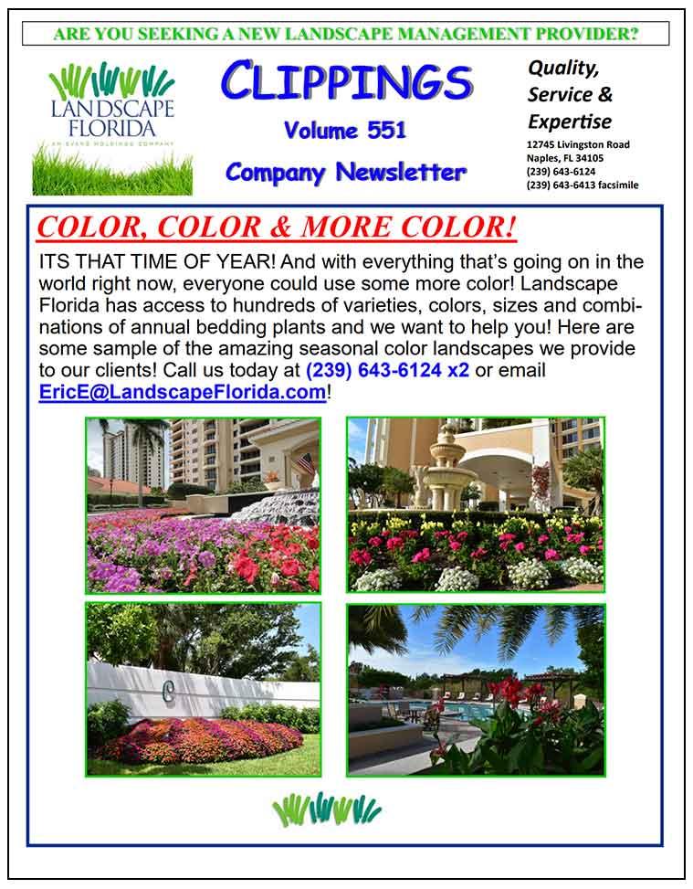 Landscape Florida Publication Clippings Volume 551 Company Newsletter | Southwest Florida Landscape Design and Maintenance